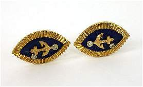 STYLISH VINTAGE 18K DIAMONDS  ENAMEL ANCHOR CUFFLINKS