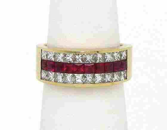 ELEGANT 18K GOLD 1.95 CTS DIAMONDS & RUBIES BAND RING