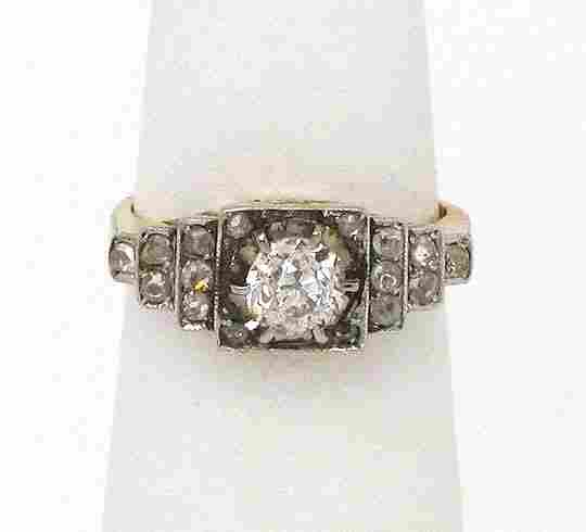 VICTORIAN 18K GOLD PLATINUM & DIAMONDS LADIES BAND RING
