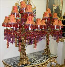 BRONZE TABLE LAMPS W/ COLORFUL BEADS