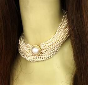 BREATHTAKING 14K GOLD & DIAMONDS LADIES MULTI-STRAND