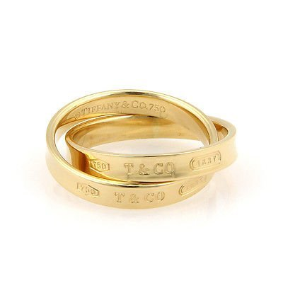 Tiffany& Co. 18K Yellow Gold 1837 Rolling Ring - Size