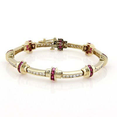 Estate14K Yellow Gold Diamond & Ruby Link Bracelet
