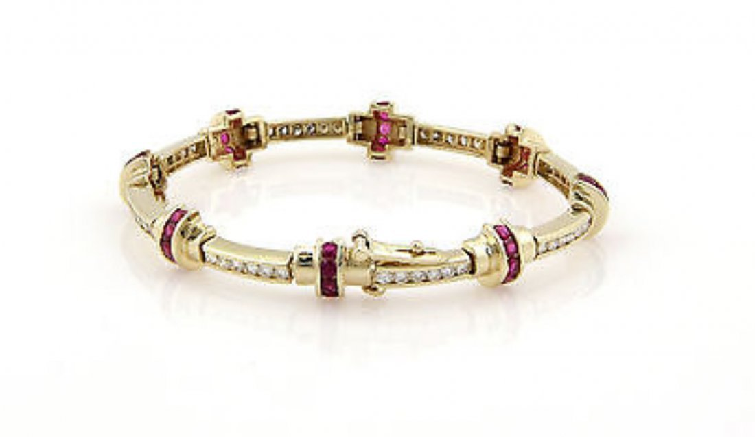 Estate14K Yellow Gold Diamond & Ruby Link Bracelet - 2