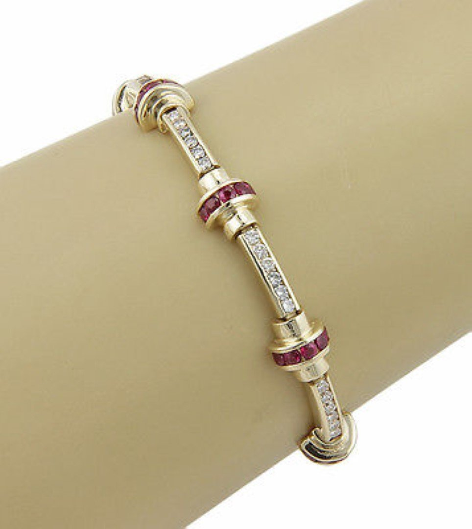 Estate14K Yellow Gold Diamond & Ruby Link Bracelet - 3