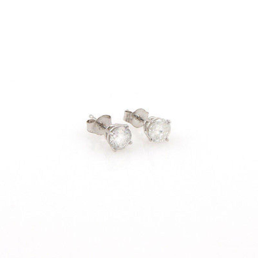 New14K White Gold 1ct Diamond Stud Earrings