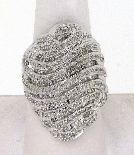 TRENDY 14K GOLD & 3 CTS. DIAMONDS WIDE LADIES RING