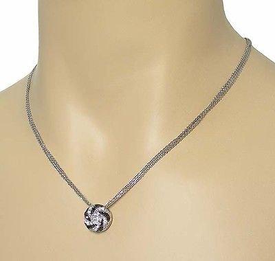 OLIVA 18k W-GOLD BLACK DIAMONDS ROUND PENDANT NECKLACE