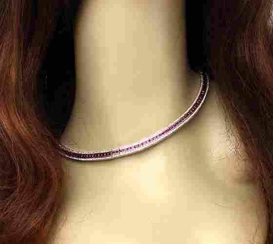 ELEGANT 18K GOLD 13 CTS DIAMONDS RUBIES LADIES NECKLACE