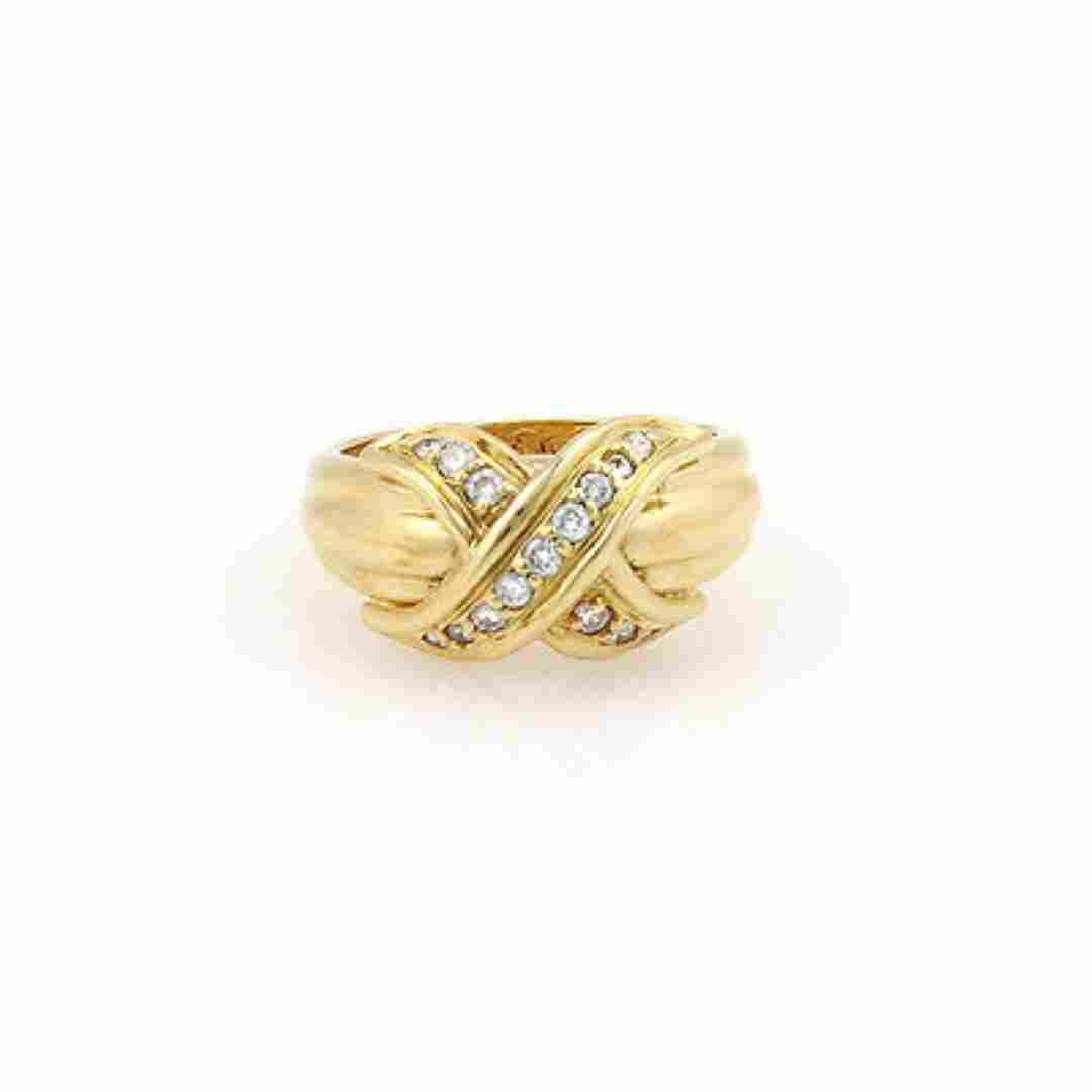 Tiffany& Co. 18K Yellow Gold Diamond Signature X Ring