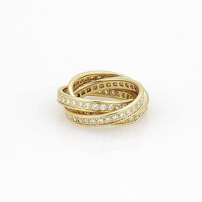 18K Yellow Gold Cartier Trinity Diamond Rolling Ring -