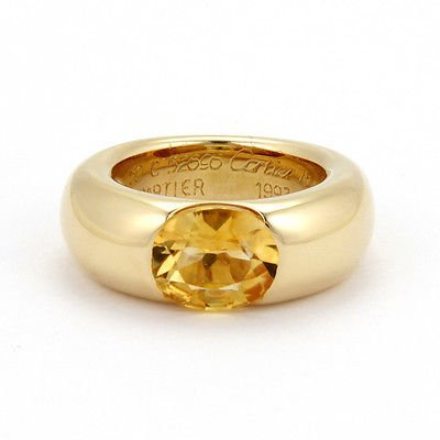 Authentic18K Yellow Gold Cartier 3ctw Citrine 8.5mm