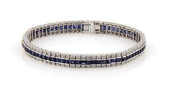 Estate14K White Gold Diamond and Sapphire Link Bracelet