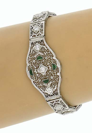 VINTAGE ART DECO 14K GOLD, DIAMONDS & EMERALDS BRACELET