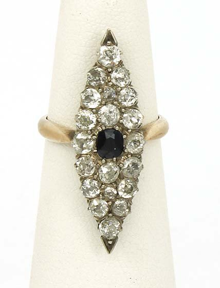 STUNNING 2-T 14K GOLD & OLD MINE DIAMONDS ANTIQUE RING