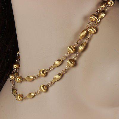 "Solid18K Yellow Gold 35"" Italian Beaded Link Fashion"