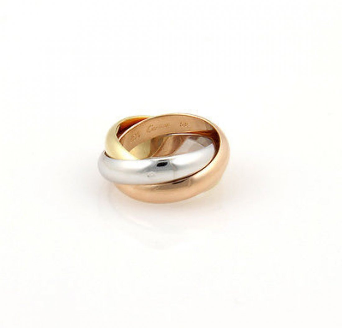 18K Tri Color GoldCartier Trinity Rolling Ring Size