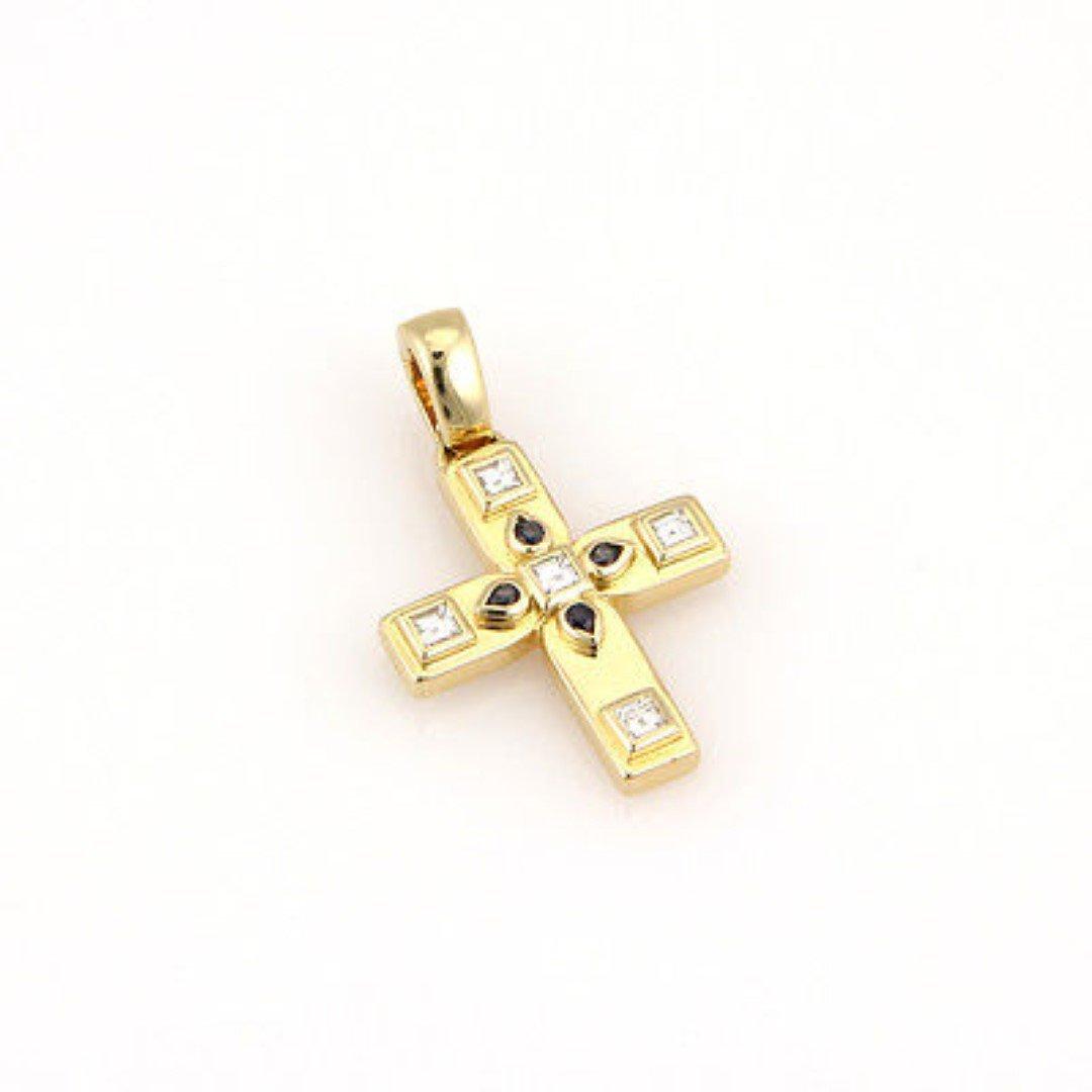 Cartier18K Yellow Gold Diamond & Sapphire Cross Pendant