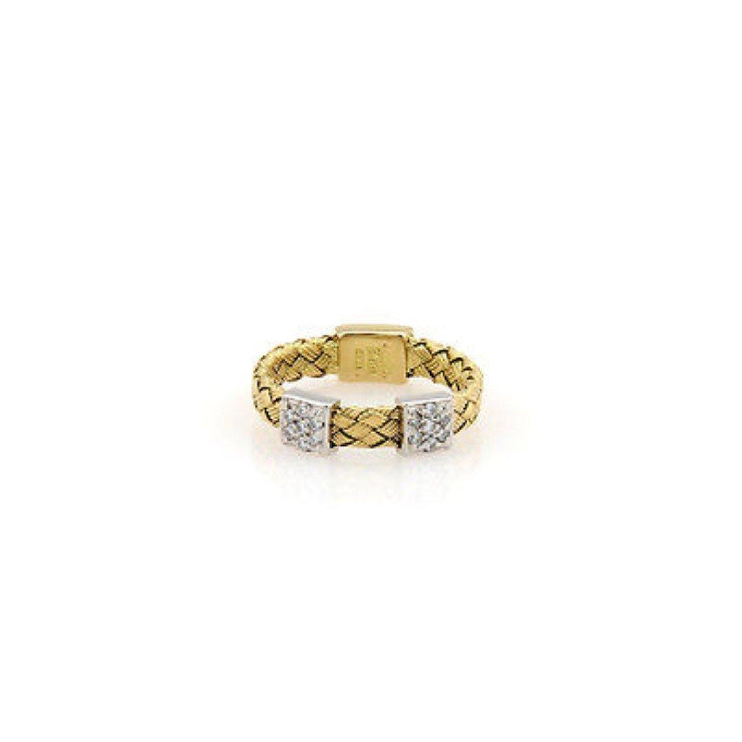 RobertoCoin 18K 2 Tone Gold Woven Diamond Band - Size
