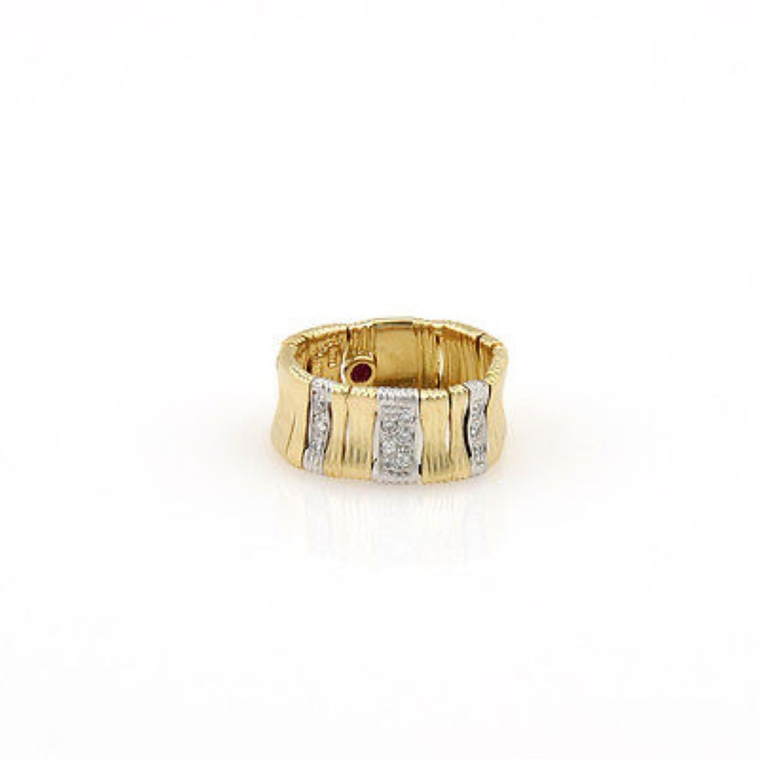 RobertoCoin 18K Yellow Gold Elephant Skin Diamond Band