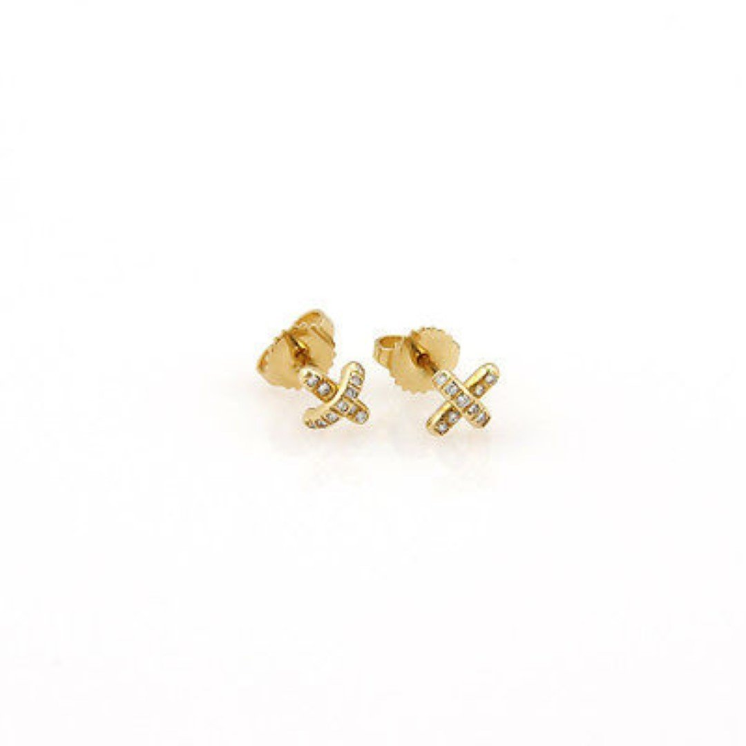 Tiffany& Co. 18K Yellow Gold Cross Stitch Mini Diamond