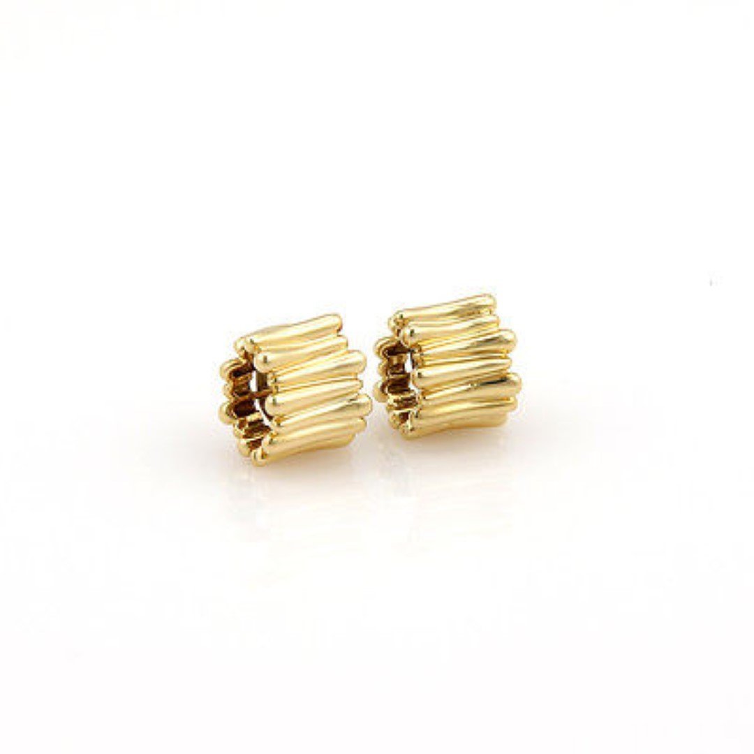 Tiffany& Co. 18K Yellow Gold Designer Huggie Earrings