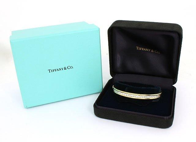 TIFFANY & CO. 18K & 3.2 CTS DIAMONDS LADIES BANGLE