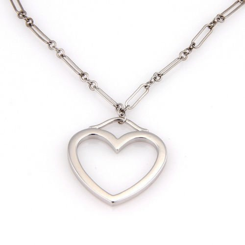 TIFFANY & CO. 18K WHITE GOLD CHAIN LINK HEART PENDANT