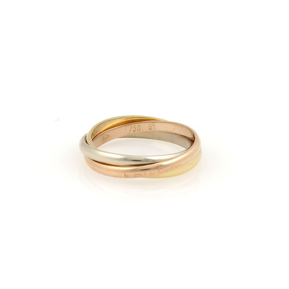 CARTIER 18K TRI COLOR GOLD TRINITY ROLLING RING - SIZE