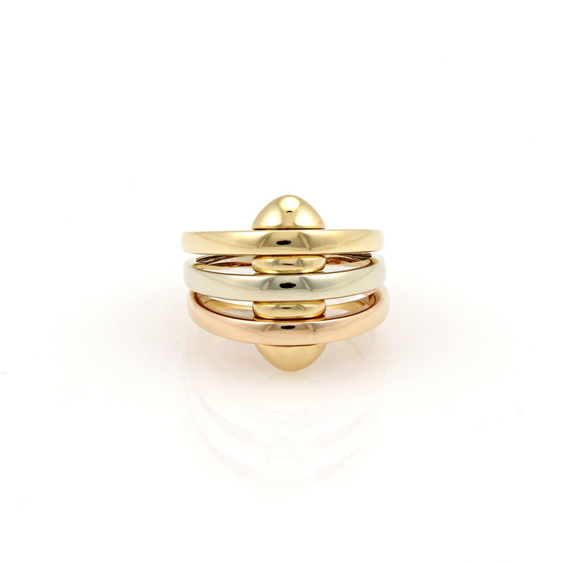 BVLGARI BULGARI 18K TRI COLOR GOLD 3 BAND DESIGNER RING