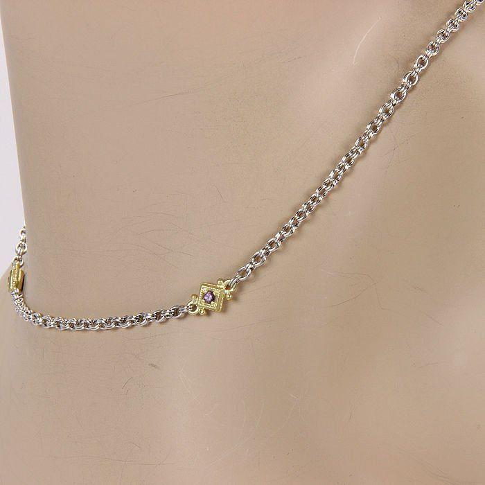 Judith Ripka Sterling Silver & 18K Yellow Gold Amethyst