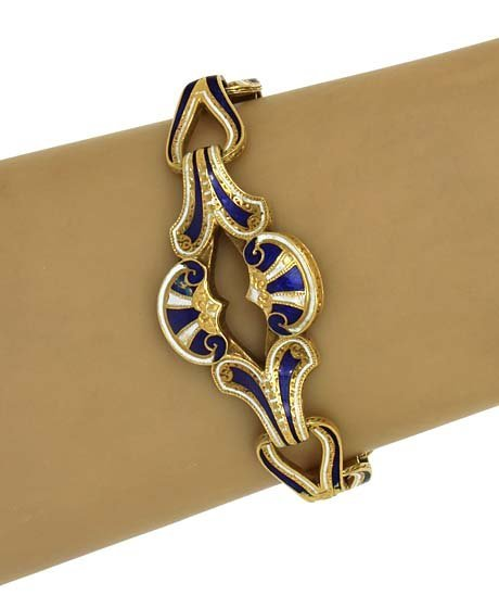 VICTORIAN 18K GOLD & ENAMEL LADIES FRENCH BRACELET