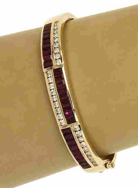 LAVISH 14K GOLD, 2.25 CTS DIAMONDS & 5.5 CTS RUBIES