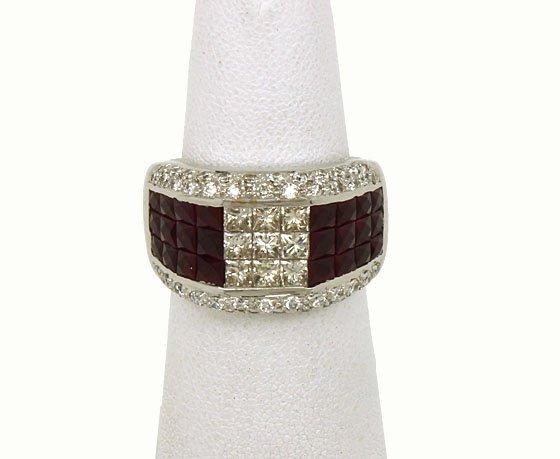 IMPRESSIVE 18K GOLD 4.5 CTS DIAMONDS & RUBIES BAND RING