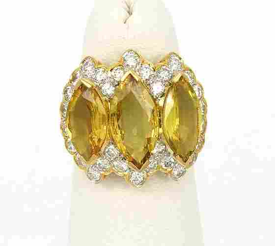 BEAUTIFUL 18K GOLD 9.4 CT DIAMONDS & SAPPHIRE BAND RING