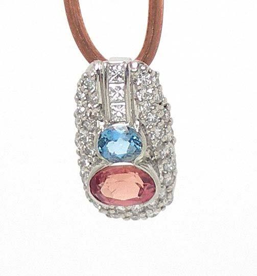 UNIQUE PLATINUM, DIAMONDS AND IMPERIAL & BLUE TOPAZ
