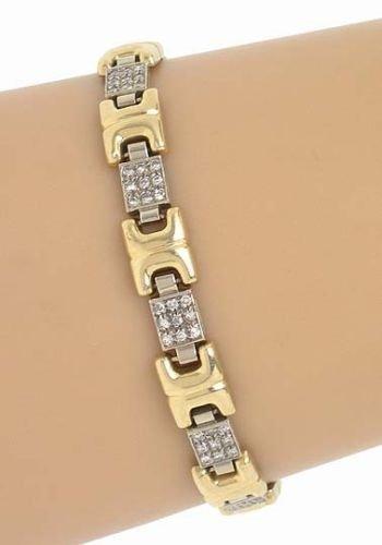 LOVELY 2-T 14K GOLD & DIAMONDS GEOMETRIC MOTIF BRACELET