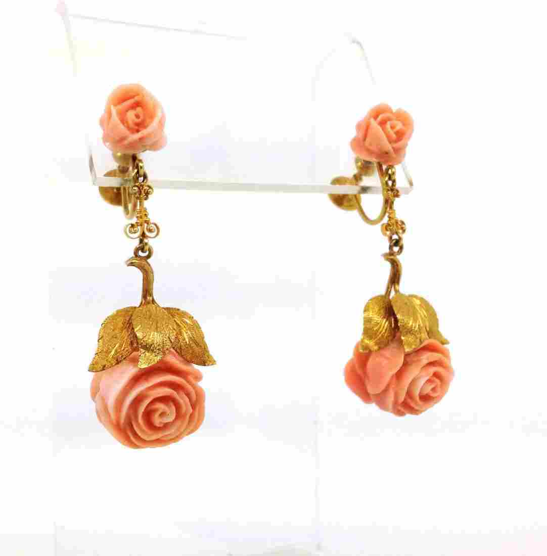 EXQUISITE VINTAGE 14K YELLOW GOLD & HAND-CARVED PINK