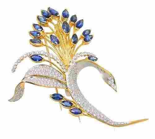 AMAZING 2-T 18K GOLD, DIAMONDS & SAPPHIRES FLORAL PIN