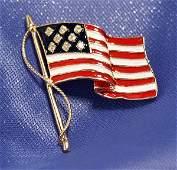 NEW 14K GOLD & DIAMONDS ENAMELED US FLAG PIN!