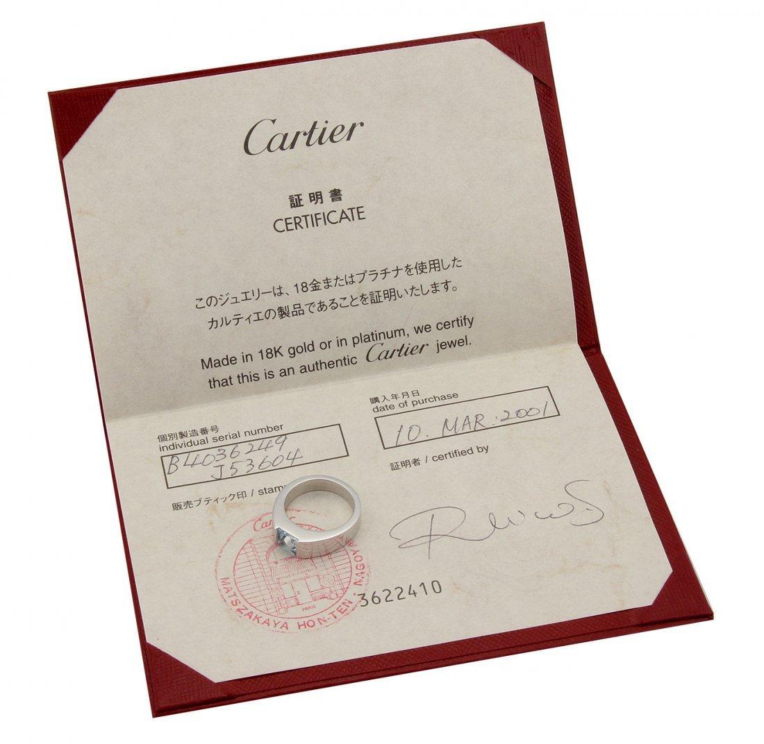 Cartier 18K White Gold Aquamarine Solitaire tank Ring - - 4