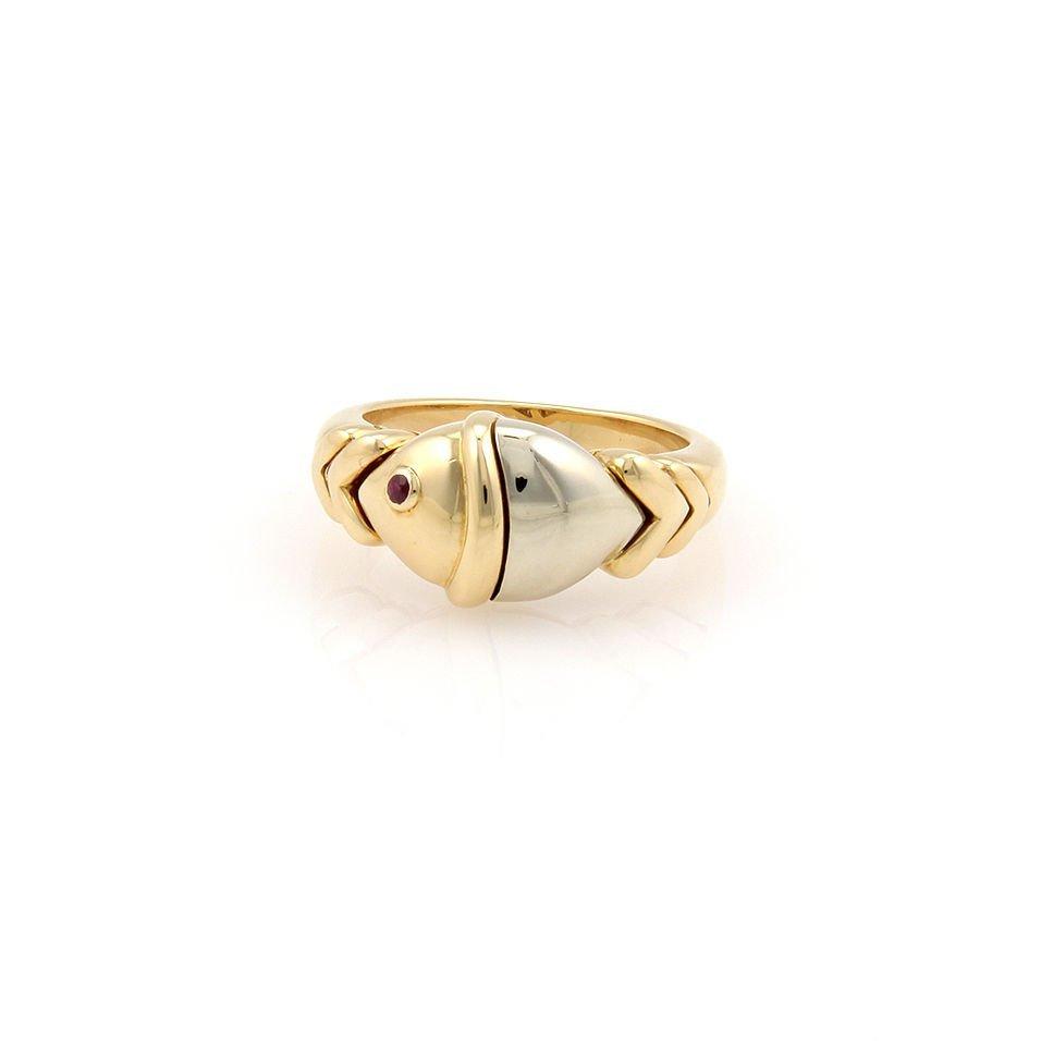 Bvlgari Bulgari 2 Tone Gold Nautica Fish Ring with Ruby