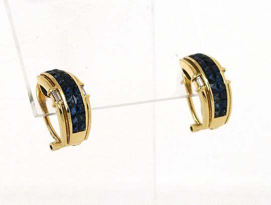 EXQUISITE 18K GOLD, DIAMONDS & BLUE SAPPHIRES EARRINGS