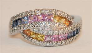 14K W/G RING MULTI COLOR SAPPHIRES