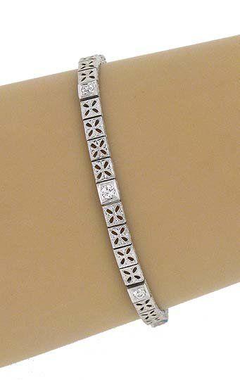 VINTAGE 18K GOLD & SPARKLING DIAMONDS ORNATE BRACELET