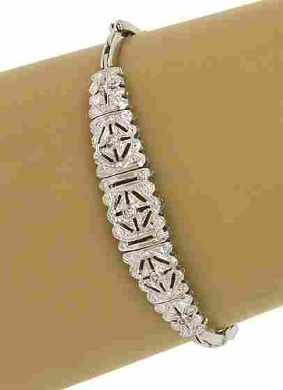 ART DECO 18K GOLD & DIAMONDS ORNATE LADIES BRACELET