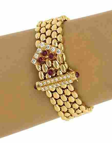 14K GOLD 1.9 CTS DIAMONDS & RUBIES PANTHER BRACELET