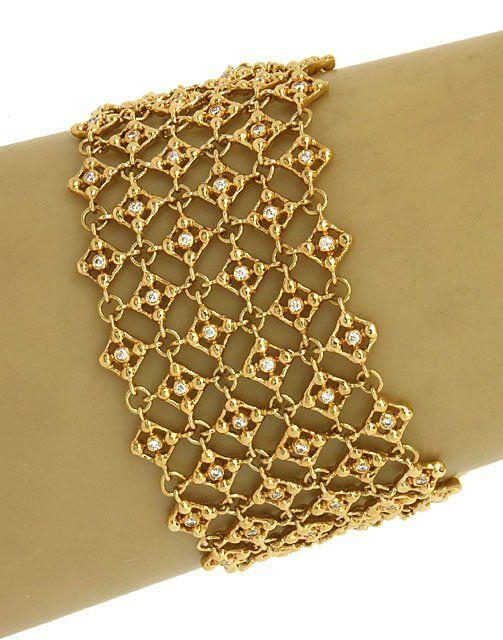 LAVISH 18K GOLD & 2 CTS DIAMONDS LADIES WIDE TRENDY
