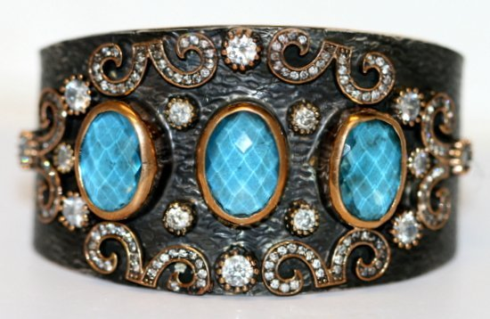SILVER BANGLE BRACELET WITH BLUE AND WHITE TOPAZ