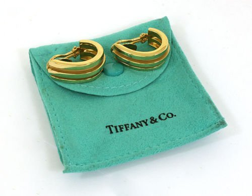 TIFFANY & CO. 18K SOLID GOLD LADIES ATLAS EARRINGS